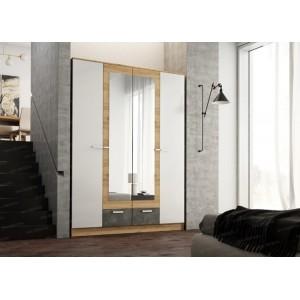 Шкаф 4-дверный Адель (Дуб вотан/Белый глянец/Цемент темный)