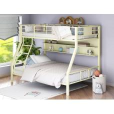Двухъярусная металлическая кровать Гранада-1П с полками