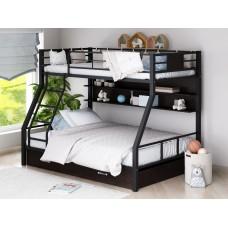 Двухъярусная металлическая кровать Гранада-1ПЯ с полками и ящиками