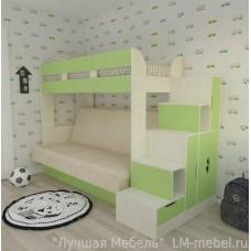 Двухъярусная кровать с диваном Ева