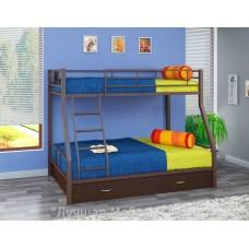 Двухъярусная металлическая кровать Гранада 1 с ящиками