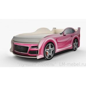 Кровать машинка Ауди мини розовая с матрасом ВиВера мебель