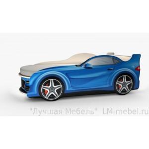 Кровать машинка Ауди мини синяя с матрасом ВиВера мебель