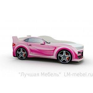 Кровать машинка Ауди розовая с матрасом ВиВера мебель