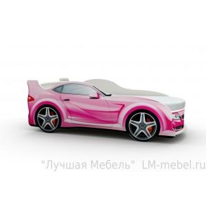 Кровать машинка БМВ розовая с матрасом ВиВера мебель