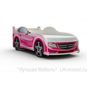 Кровать машинка Мерседес розовая с матрасом ВиВера мебель
