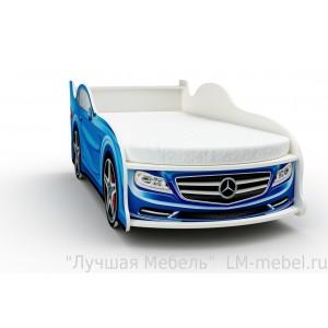 Кровать машинка Мерседес синяя с матрасом ВиВера мебель