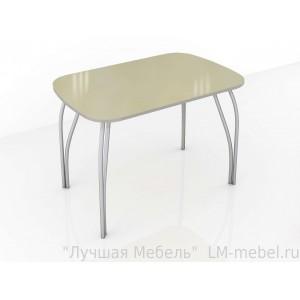 Стол обеденный со стеклом Лотос (Лакобель ваниль)