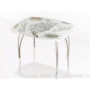 Стол обеденный со стеклом Лотос (Оксфорд белый)