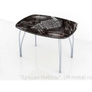 Стол обеденный со стеклом Лотос (Оксфорд черный)