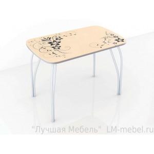 Стол обеденный со стеклом Лотос (Винтаж бежевый)