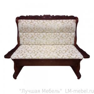 Прямой кухонный диван Себастьян с резьбой из массива сосны