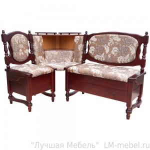 Угловой кухонный диван Картрайд с ящиком из массива сосны