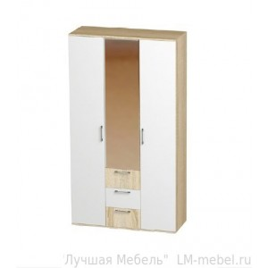 Шкаф 3-х створчатый Белладжио ШК-14 с полками, ящиками и штангой