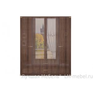Шкаф четырехдверный для одежды Париж с ящиками и зеркалами 2